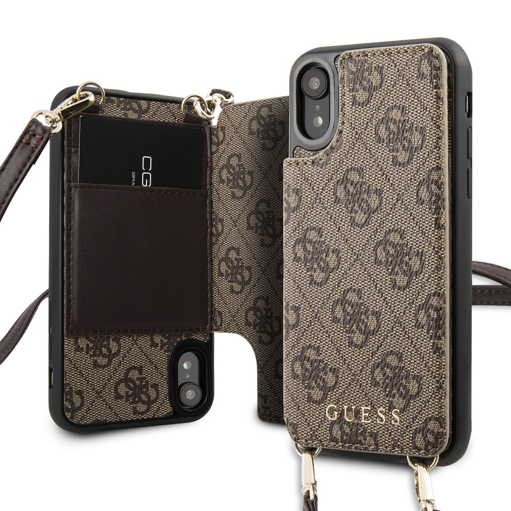 Guess 4G Crossbody Cardslot flipové pouzdro GUHCI8CB4GB pro Apple iPhone 7/8 brown