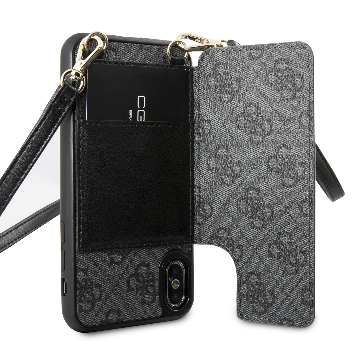 Guess 4G Crossbody Cardslot flipové pouzdro GUHCPXCB4GG pro Apple iPhone X/XS grey