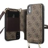 Guess 4G Crossbody Cardslot flipové pouzdro GUHCPXCB4GB pro Apple iPhone X/XS brown