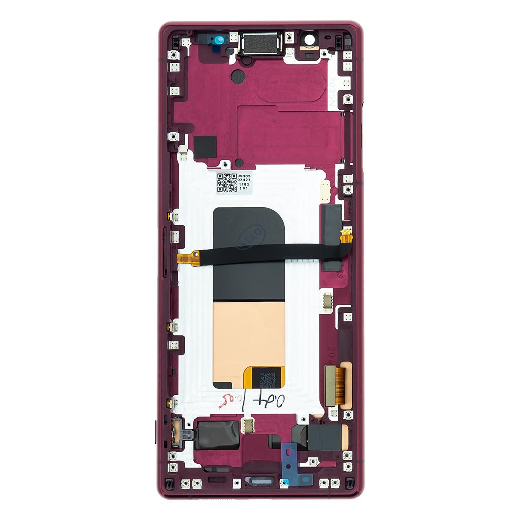 LCD + dotyk + přední kryt pro Sony Xperia 5, red (Service Pack)