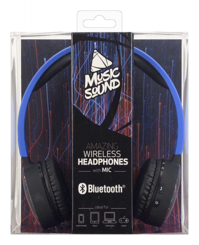 Bezdrátová sluchátka MUSIC SOUND s hlavovým mostem a mikrofonem, modrá