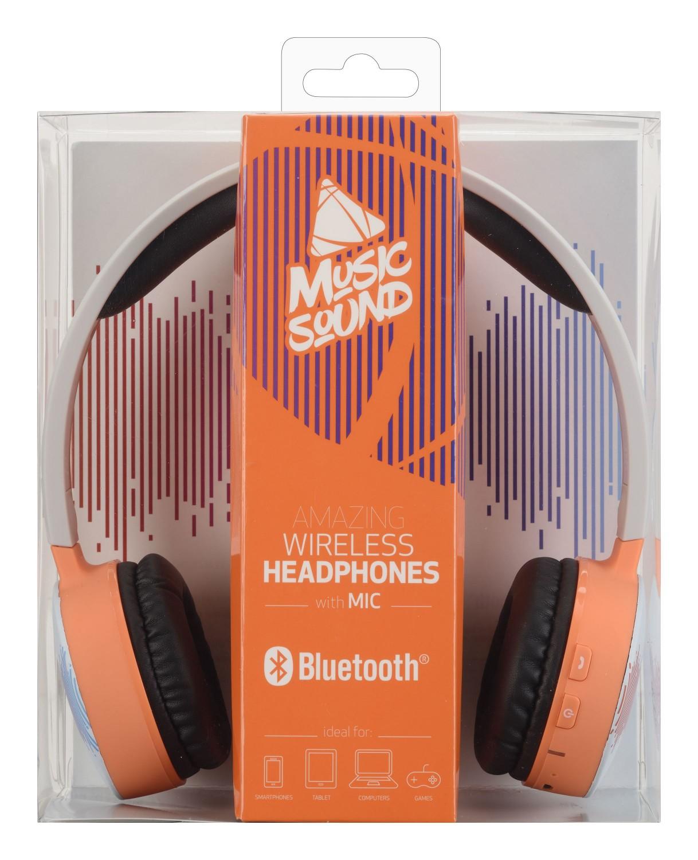 Bezdrátová sluchátka MUSIC SOUND s hlavovým mostem a mikrofonem, oranžová