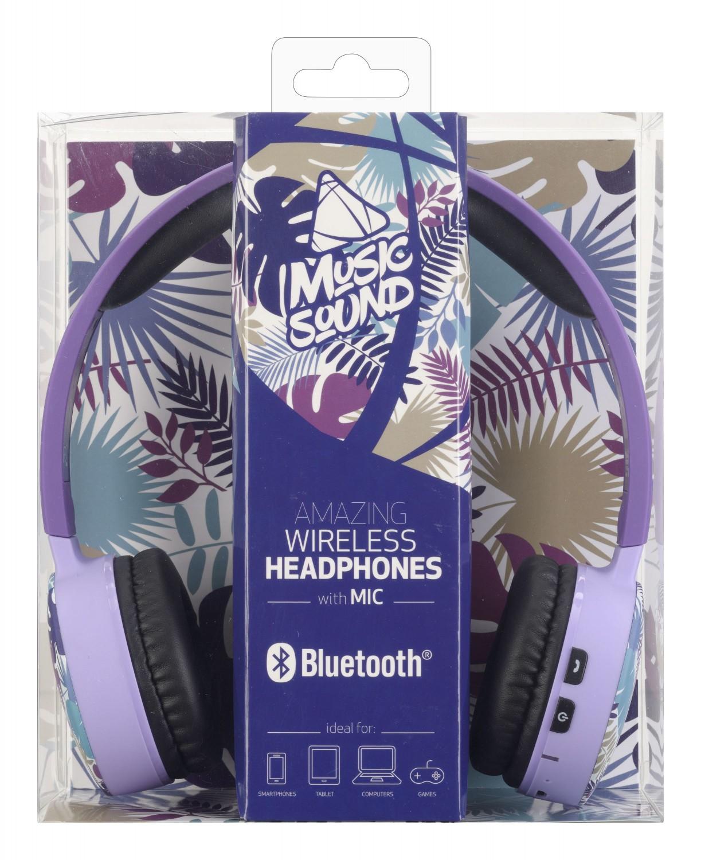 Bezdrátová sluchátka MUSIC SOUND s hlavovým mostem a mikrofonem, fialová