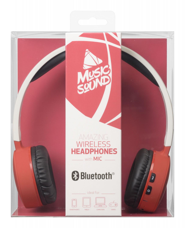 Bezdrátová sluchátka MUSIC SOUND s hlavovým mostem a mikrofonem, bílo-červená