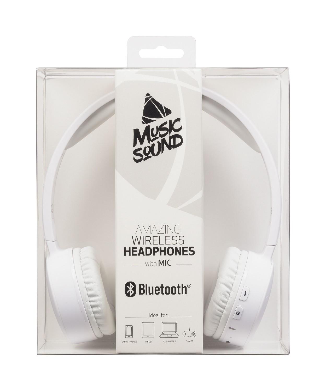 Bezdrátová sluchátka MUSIC SOUND s hlavovým mostem a mikrofonem, bílá