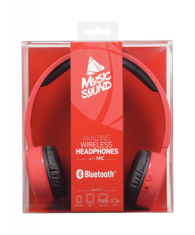 Bezdrátová sluchátka MUSIC SOUND s hlavovým mostem a mikrofonem, červená