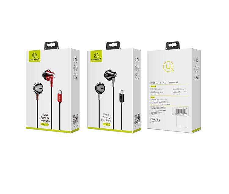 USAMS EP-25 In-Ear Metal Stereo Headset Type C red