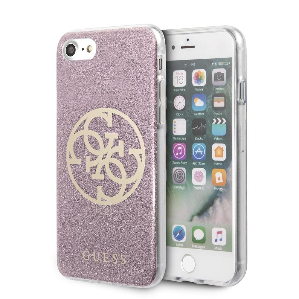Guess Glitter 4G Circle Zadní kryt GUHCI8PCUGLPI pro Apple iPhone 8/SE 2020 pink