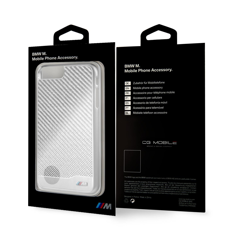 BMW Carbon Aluminium zadní kryt BMHCP7LMDCS Apple iPhone 7/8 Plus silver