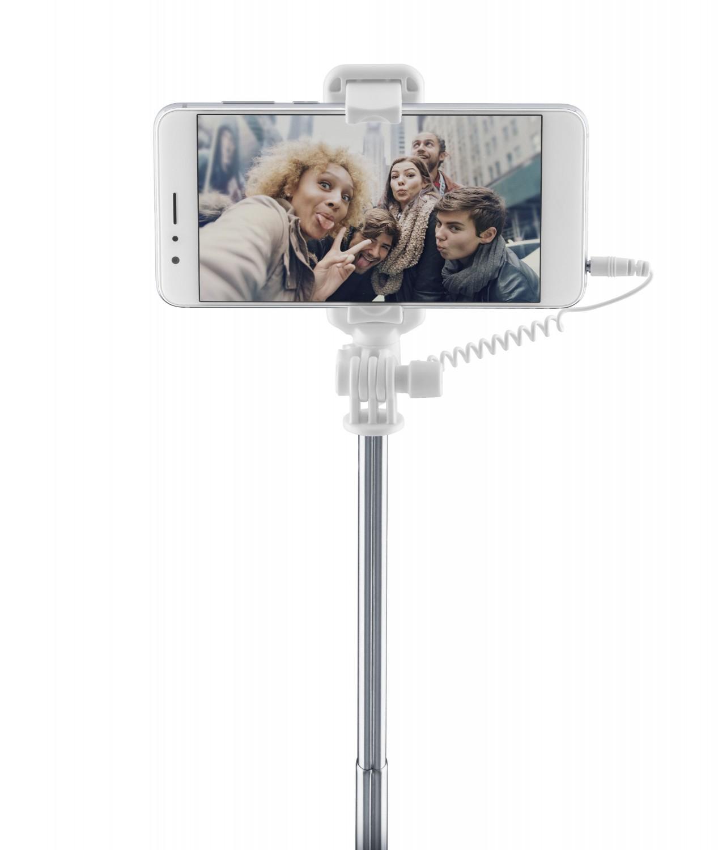 Selfie tyč se zrcátkem CellularLine Total View, modrá