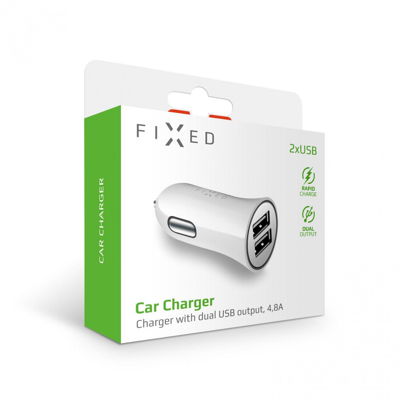 Autonabíječka FIXED s 2xUSB výstupem, 24W (2x2,4A), bílá