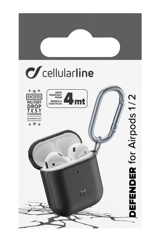 Ochranný kryt Cellularline Defender pro Apple AirPods 1&2, černý