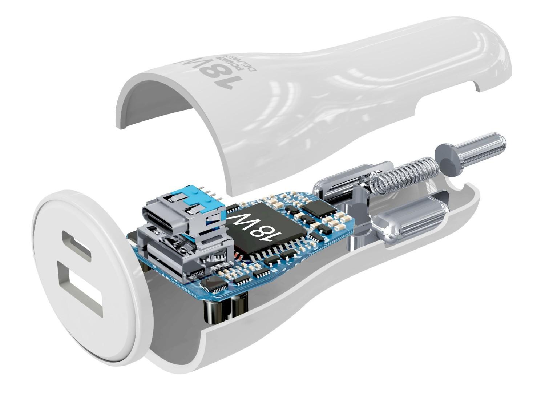 Set autonabíječky Cellularline s USB-C portem a Lightning kabelu, Power Delivery 30 W bílý
