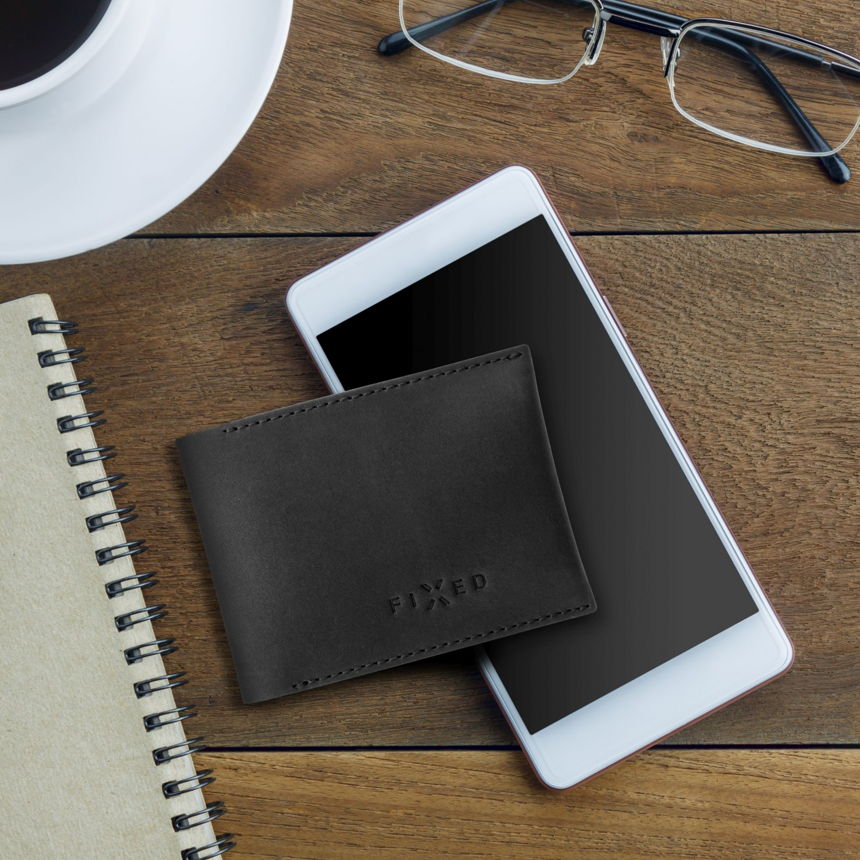 Kožená peněženka FIXED Smile Wallet se smart trackerem a motion senzorem, černá