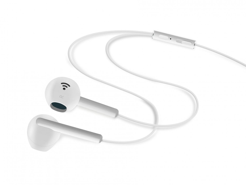Pecková sluchátka FIXED EGG4 s mikrofonem a ovladačem, bílá