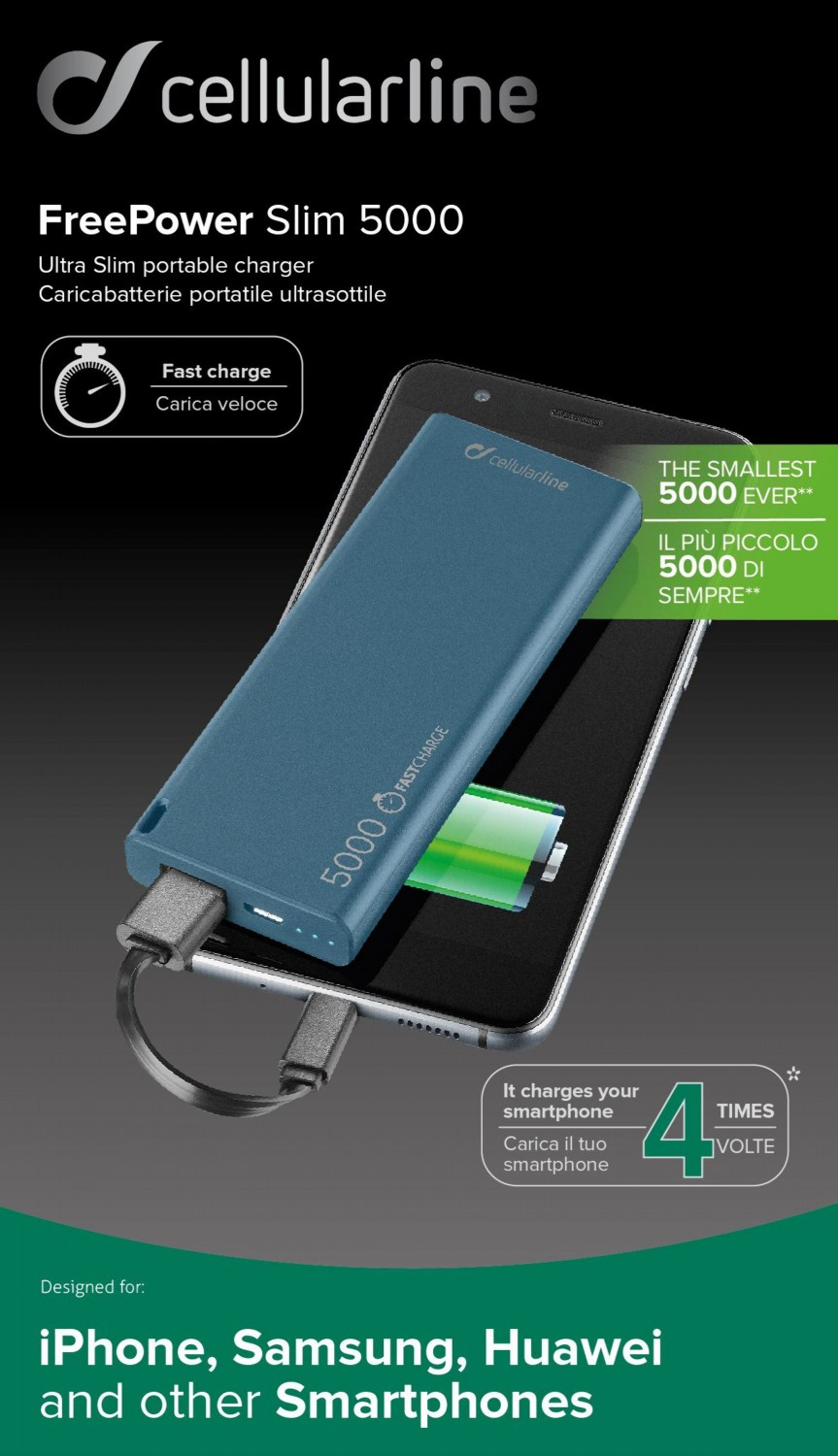 Powerbanka CellularLine FREEPOWER SLIM, microUSB, 5000mAh, modrá