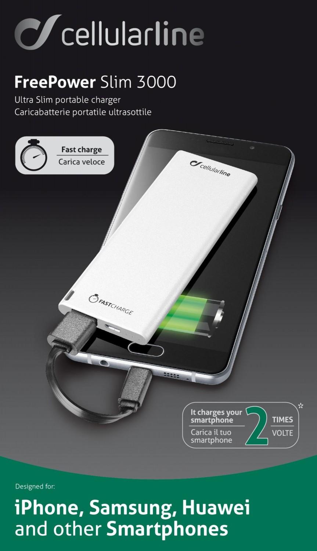 Powerbanka CellularLine FREEPOWER SLIM, microUSB, 3000mAh, bílá
