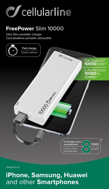 Powerbanka CellularLine FREEPOWER SLIM, microUSB, 10000mAh, bílá