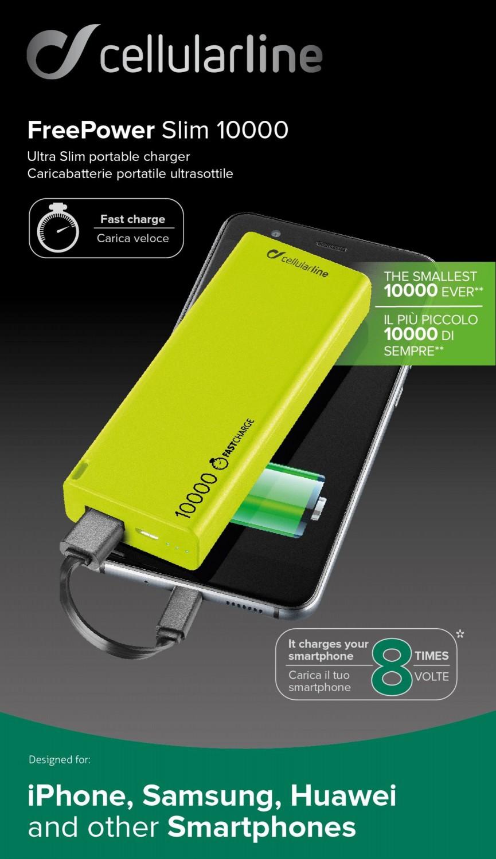 Powerbanka CellularLine FREEPOWER SLIM, microUSB, 10000mAh, zelená