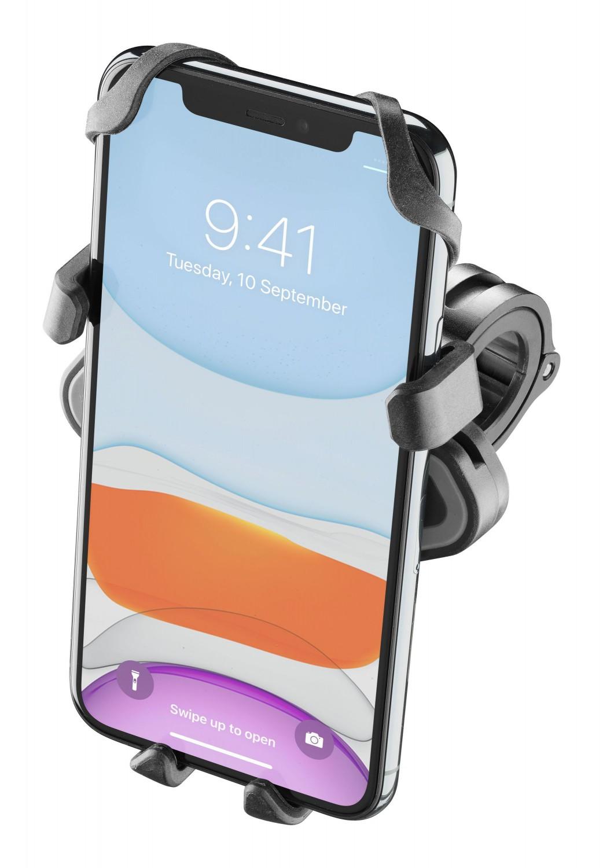 Držák na mobilní telefony Interphone Smart Crab s úchytem na řídítka, černý