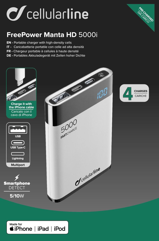 Powerbanka Cellularline FreePower Manta HD, 5000 mAh, Lightning+USB-C, bílá
