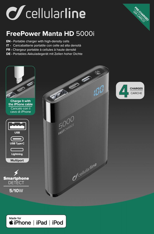 Powerbanka Cellularline FreePower Manta HD, 5000 mAh, Lightning+USB-C, černá
