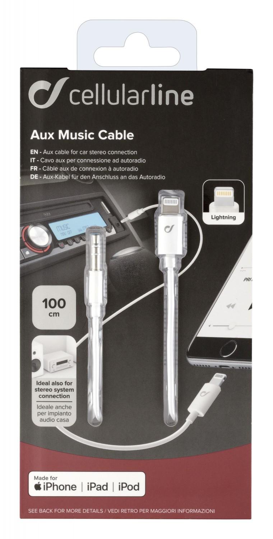 Audio kabel Cellularline Aux Music Cable, konektory Ligtning+3,5 mm jack, bílý