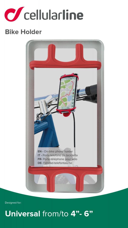 Silikonový držák Cellularline Bike Holder pro mobilní telefony na řídítka, červený