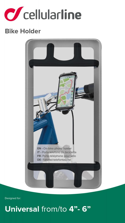 Silikonový držák Cellularline Bike Holder pro mobilní telefony na řídítka, černý