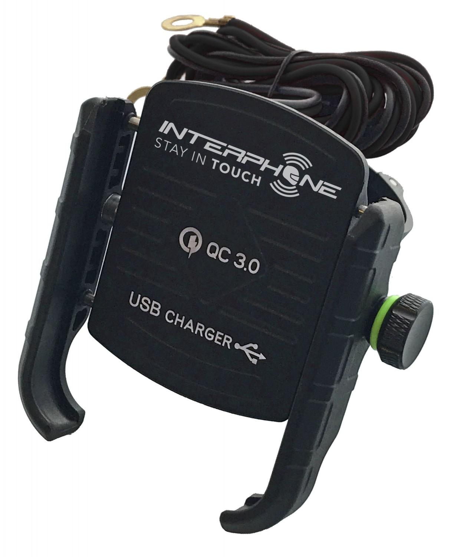 Držák na mobilní telefony Interphone MOTOCRAB s integrovaným USB portem, černý