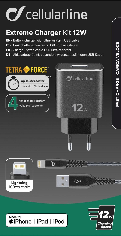 Set USB nabíječky a Lightning kabelu Cellularline Tetra Force 12W, černý