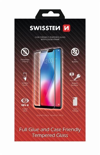Tvrzené sklo Swissten Full Glue, Color Frame, Case Friendly pro Samsung Galaxy A70, černá