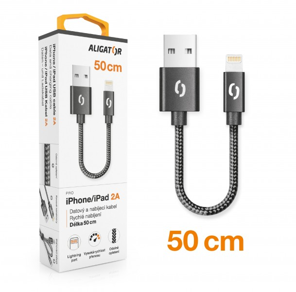 Datový kabel ALIGATOR PREMIUM 2A, Lightning 50cm, černá
