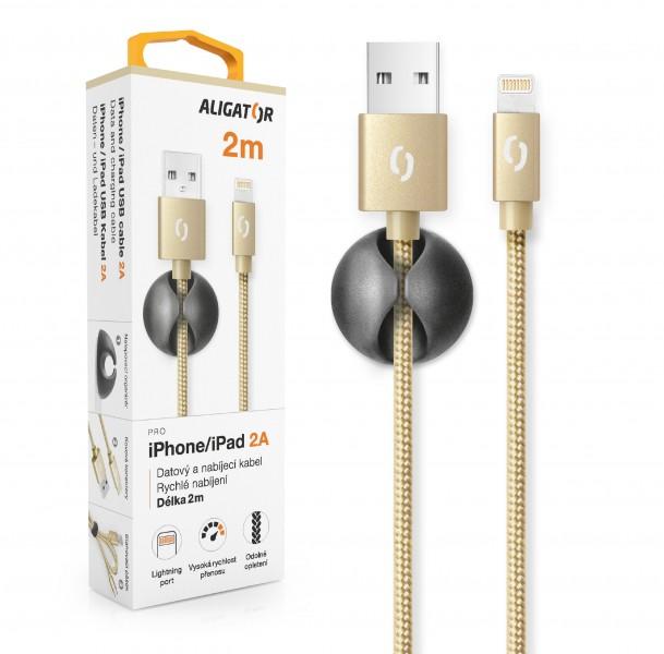 Datový kabel ALIGATOR PREMIUM 2A, Lightning 2m, zlatá