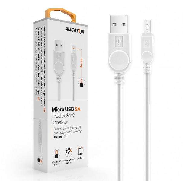 Datový kabel , micro USB, 2A, 1m, prodloužený konektor 9mm, bílá