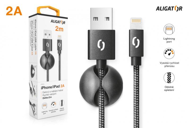 Datový kabel ALIGATOR PREMIUM 2A, Lightning 2m, černá