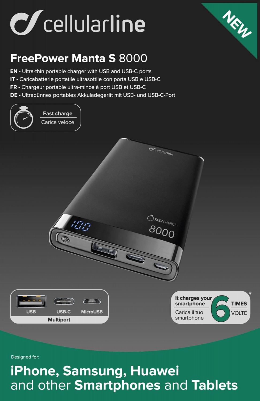 Powerbanka CellularLine FREEPOWER MANTA S, 8000mAh, USB-C+USB, černá