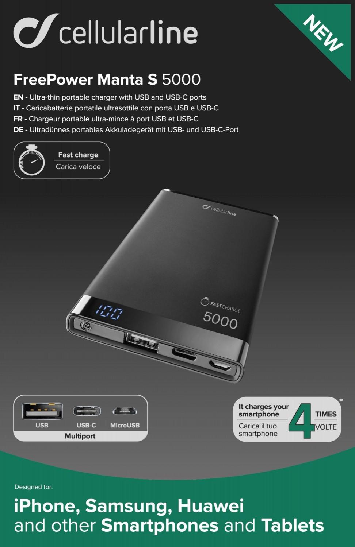 Powerbanka CellularLine FREEPOWER MANTA S, 5000mAh, USB-C+USB, černá