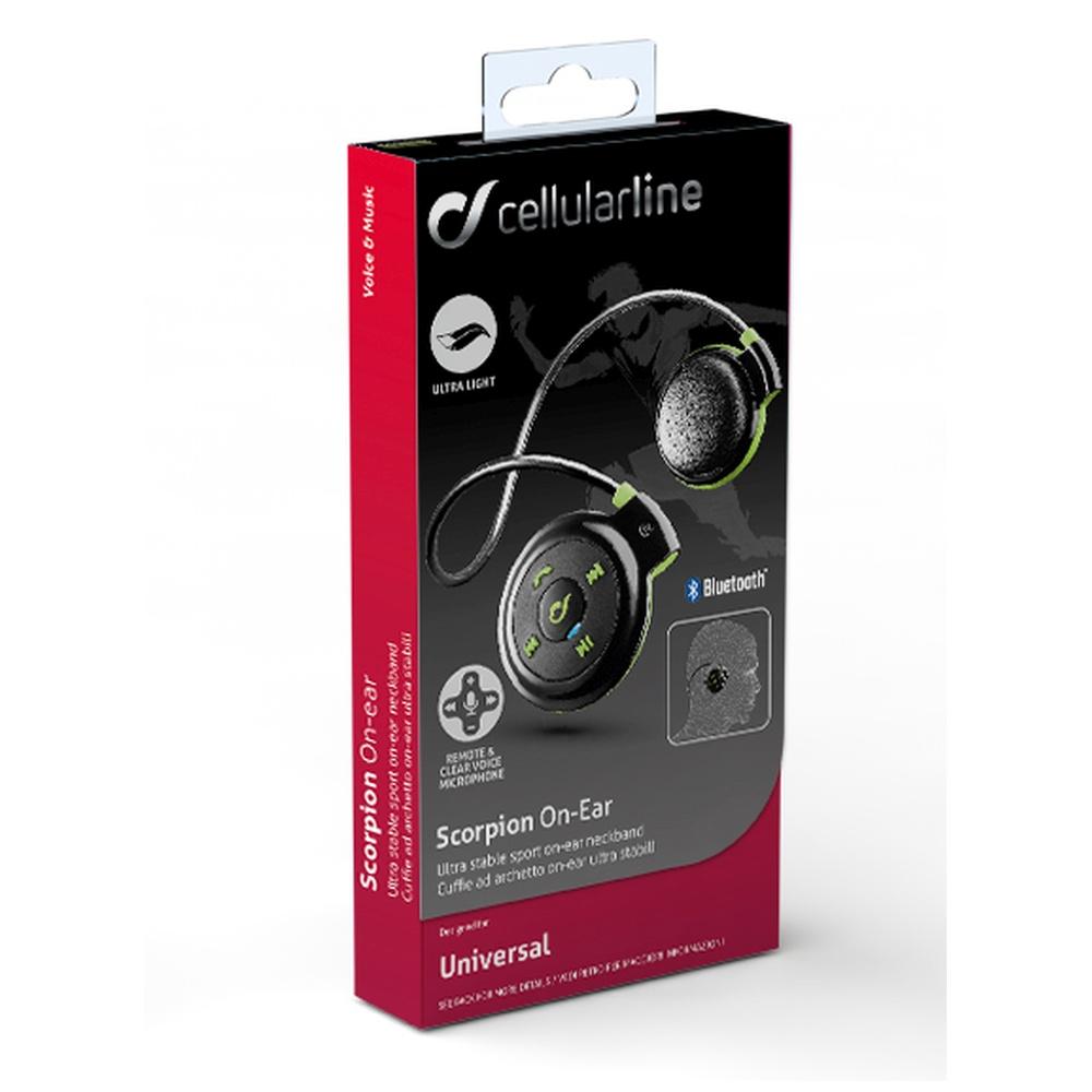 Sportovní sluchátka CellularLine SCORPION, BT, černo-zelená