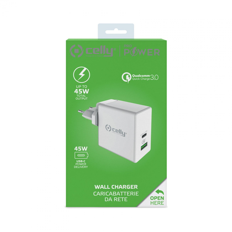 Cestovní nabíječka CELLY PRO POWER USB-C (PD)/USB port, Qualcomm Quick Charge 3.0, 45W max, bílá