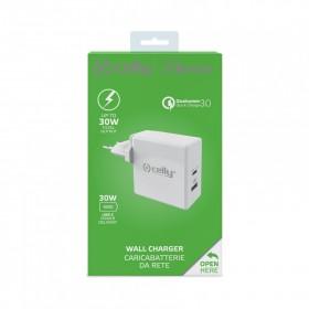 Cestovní nabíječka CELLY PRO POWER USB-C (PD)/USB, Qualcomm Quick Charge 3.0, 30W max, bílá
