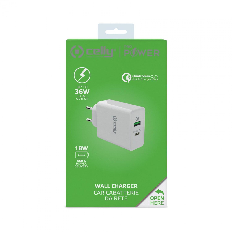 Cestovní nabíječka CELLY PRO POWER USB-C (PD)/USB, Qualcomm Quick Charge 3.0, 18W max, bílá