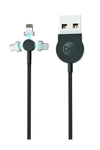 Datový kabel Forever Core 3v1 magnetický micro USB+Lightning+USB-C 1m 2,5A textilní, černá