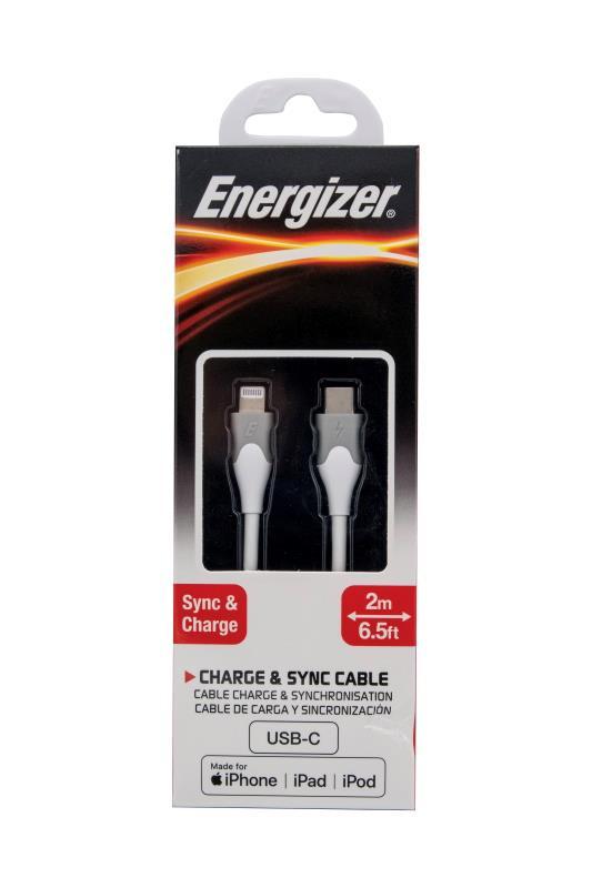 Datový kabel Energizer USB-C na Lightining MFI 2m 60W silikonový, bílá
