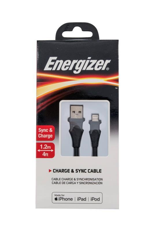 Datový kabel Energizer Lightining MFI 1,2m 2,4A silikonový, černá