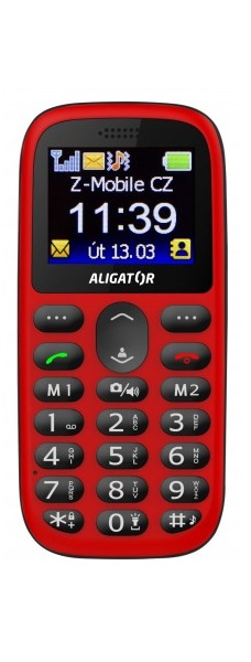 Aligator A510 Senior + nabíjecí stojánek červená/černá