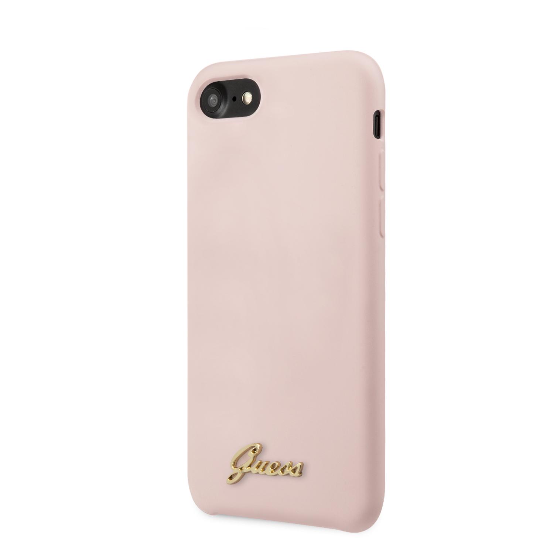 Guess Retro silikonový kryt GUHCI8LSLMGLP Apple iPhone 8/SE 2020 pink
