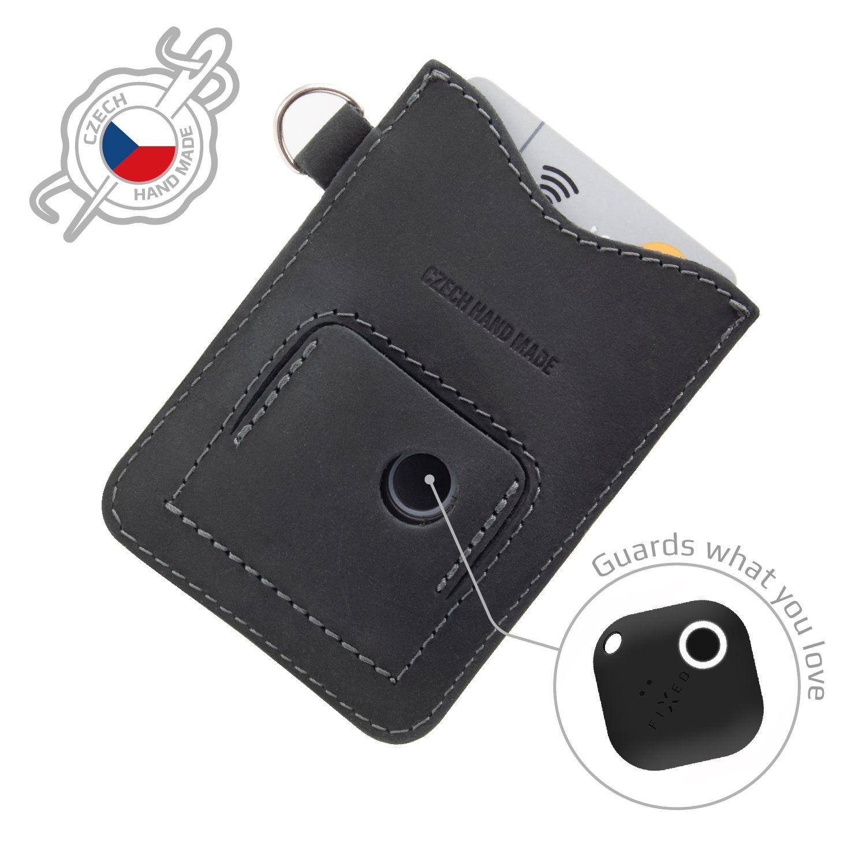 Kožené pouzdro na karty FIXED Smile Cards se smart trackerem, černé