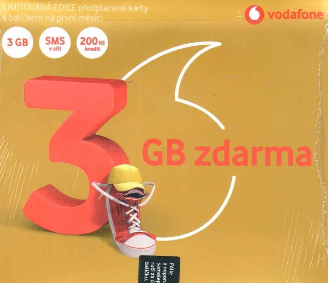 """Vodafone - Limitovaná edice předplacené karty """"3GB zdarma"""""""