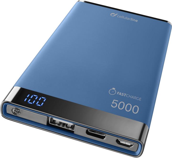 Powerbanka CellularLine FREEPOWER MANTA S, 5000mAh, USB-C+USB port, modrá